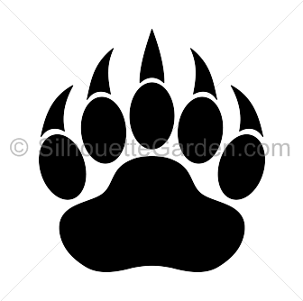 Bear paw clipart silhouette.