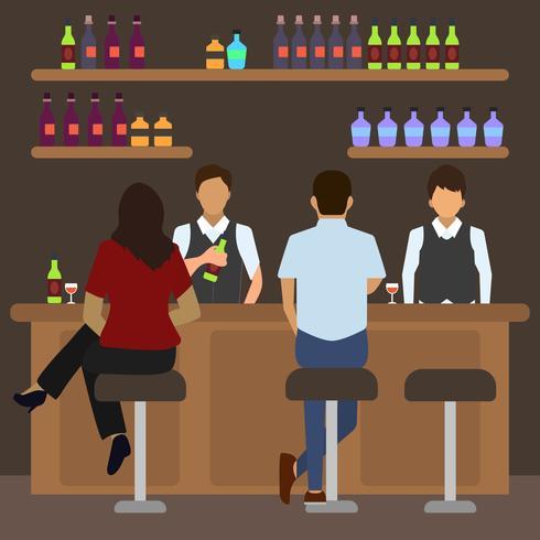 Flat Crowded Bar Scene Vector Illustration.
