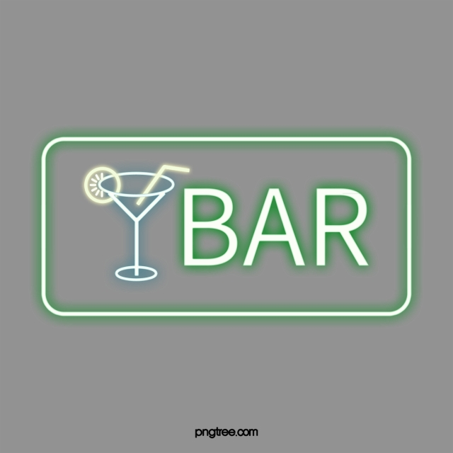Cool Green Neon Bar Sign Bar, Pub Signs, Green Flag, Bar PNG Image.