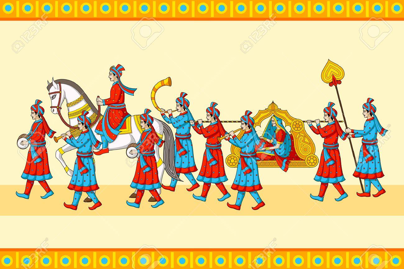 Indian wedding baraat ceremony.