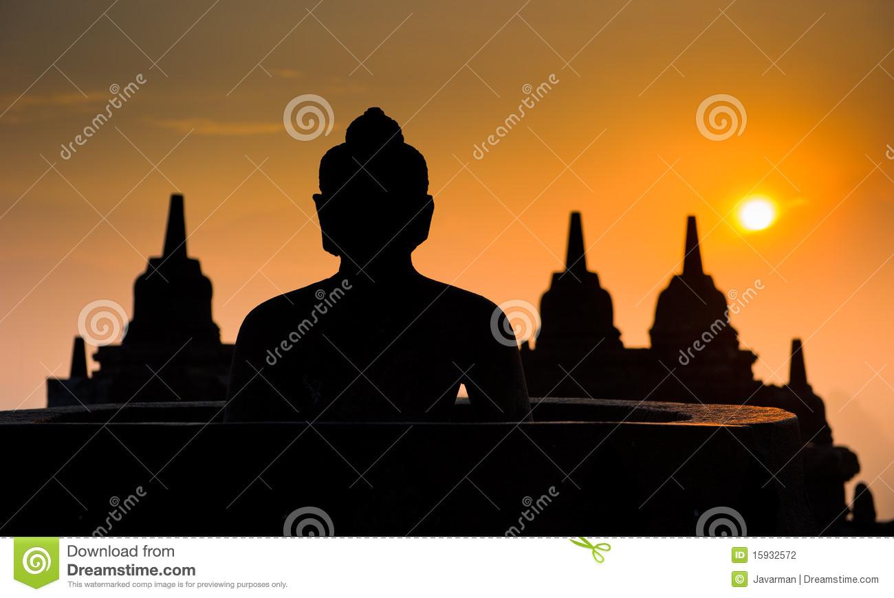 Borobudur Temple At Sunrise, Java, Indonesia Stock Photography.