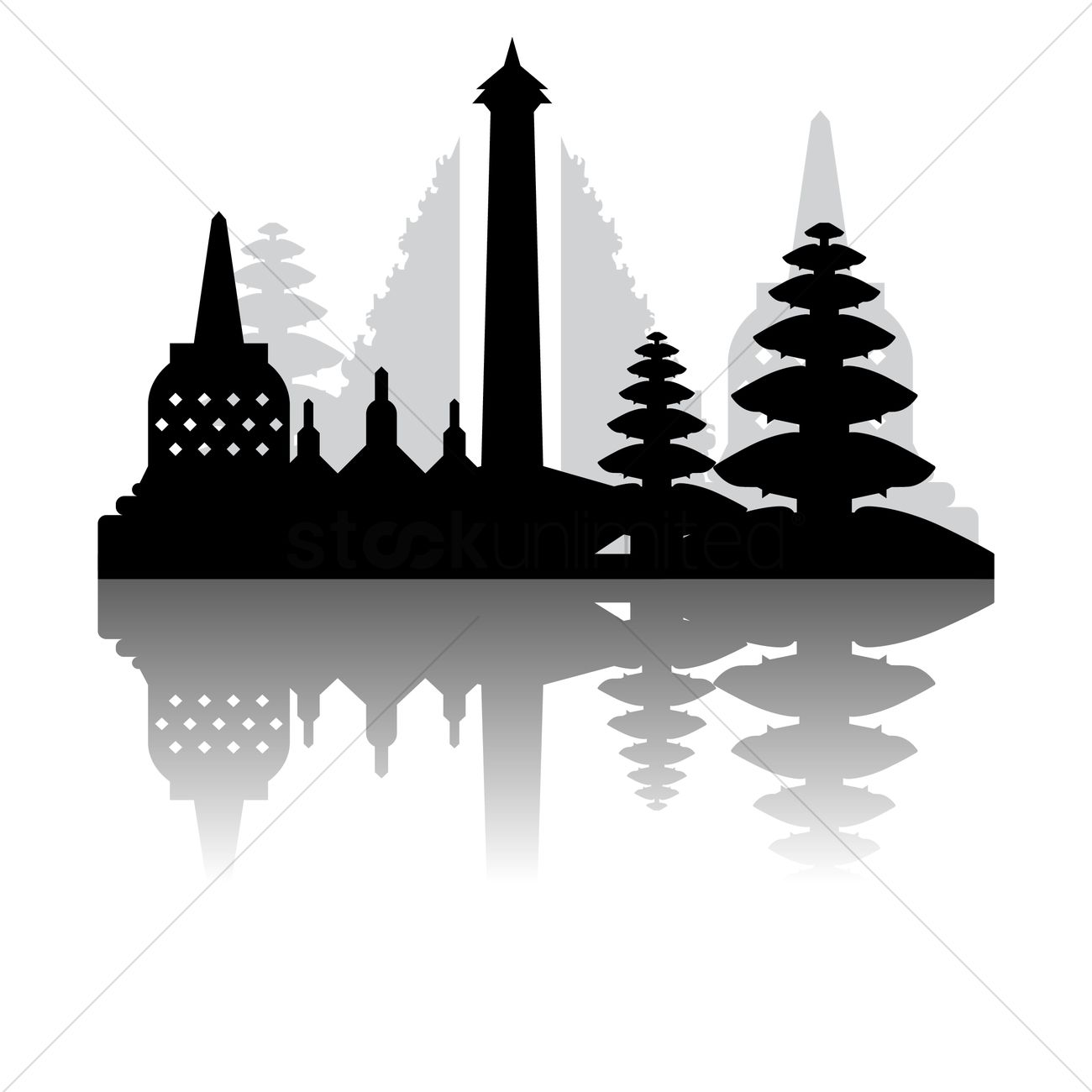 Free Borobudur temple Vector Image.