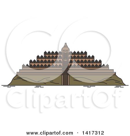 Clipart of a Landmark, Borobudur Temple.