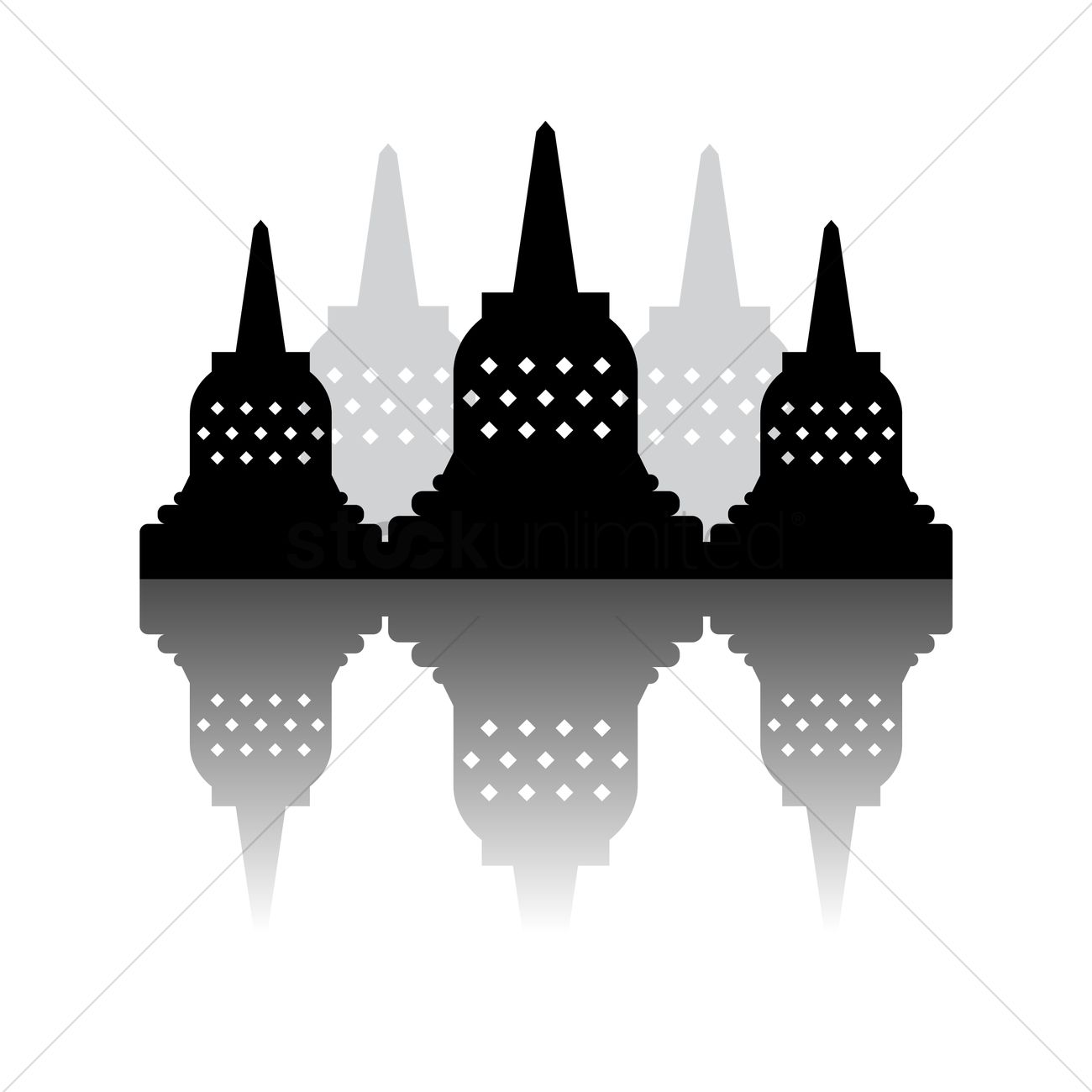 Borobudur and indonesia national monument Vector Image.