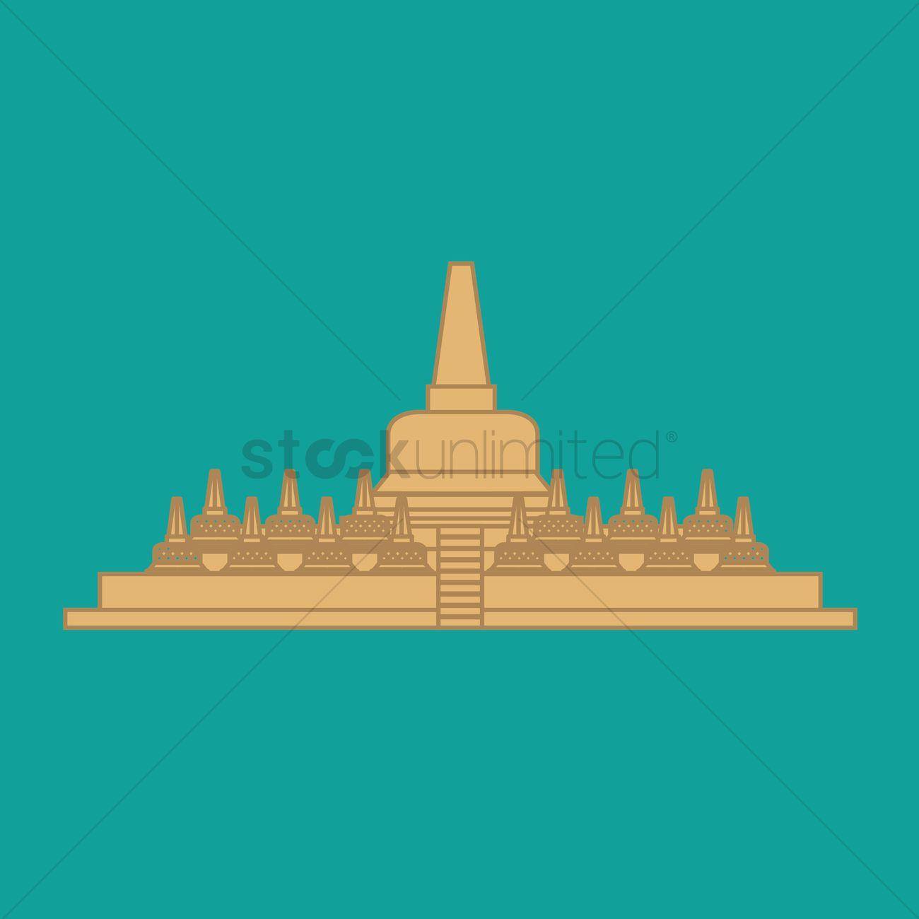 Borobudur temple Vector Image.