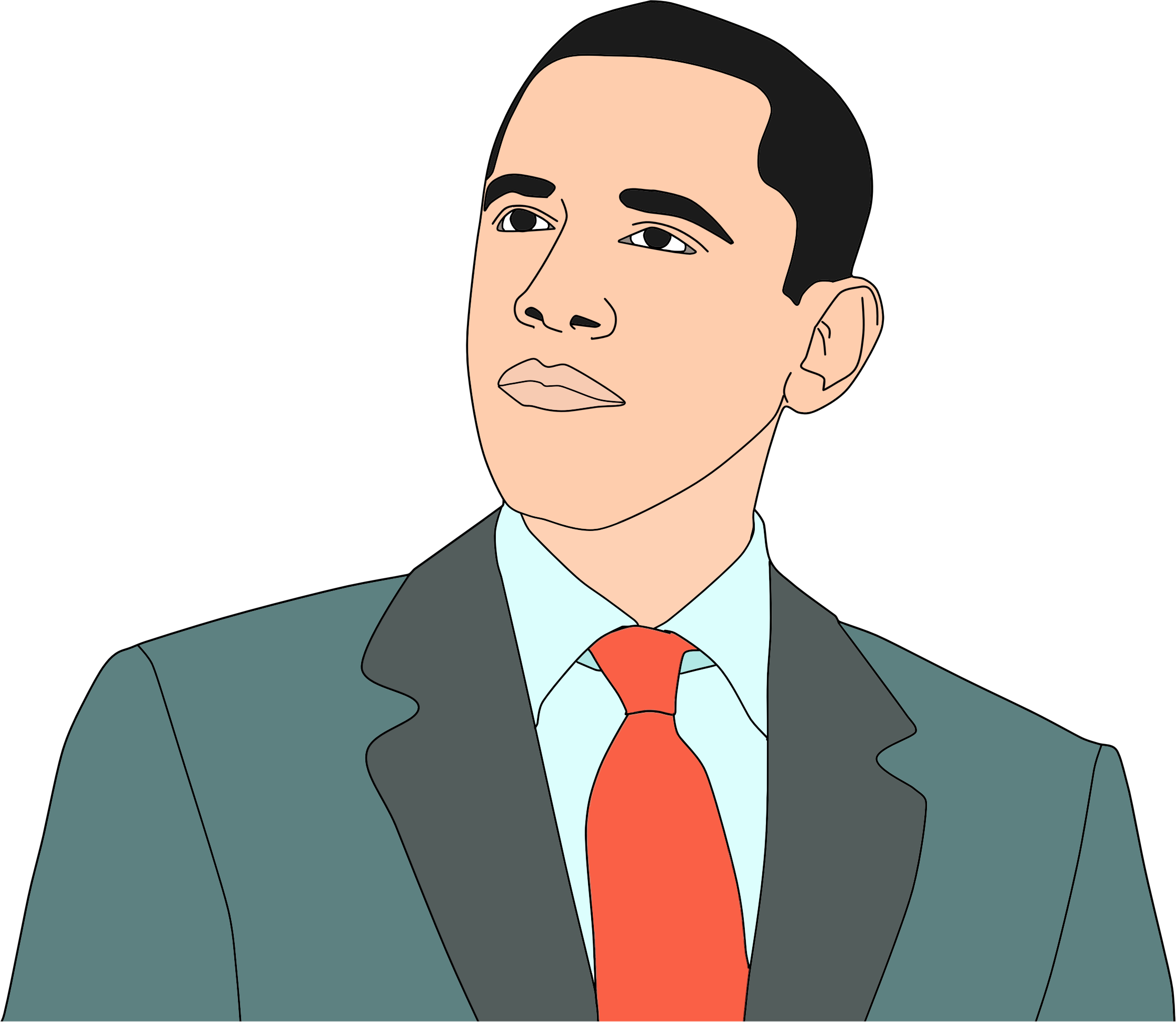 Barack Obama Portrait Vector Clipart.