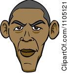 Clipart Illustration of Barack Obama, The First Black American.