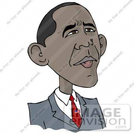 Clip Art Graphic of Barack Hussein Obama I Wearing A Patriotic.