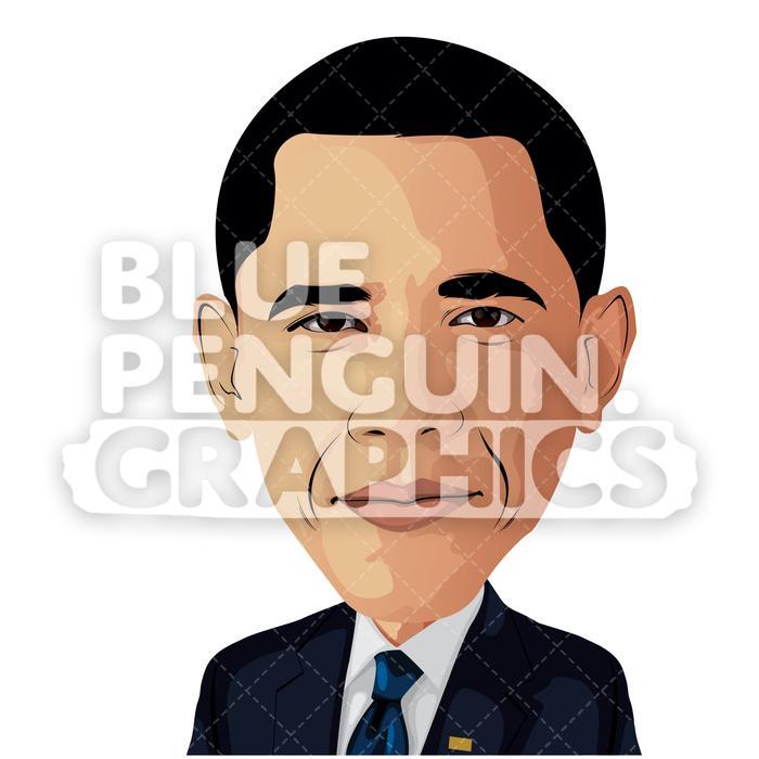 American President Barack Obama Vector Cartoon Clipart Illustration.