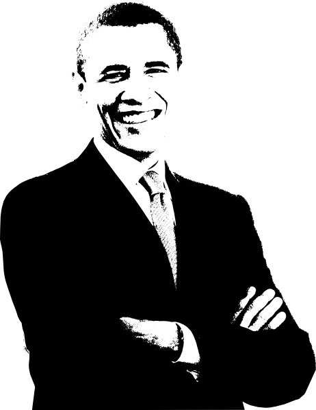 Barack Obama clip art Free vector in Open office drawing svg.