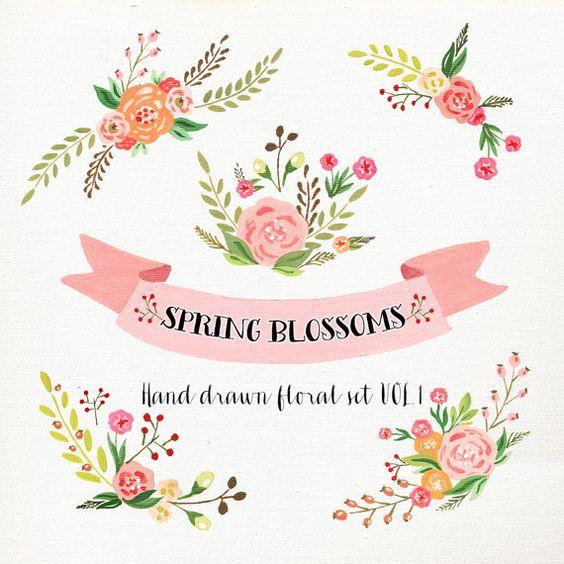 Watercolor Flower Clipart, Wedding floral Clip art, Floral Bouquet.
