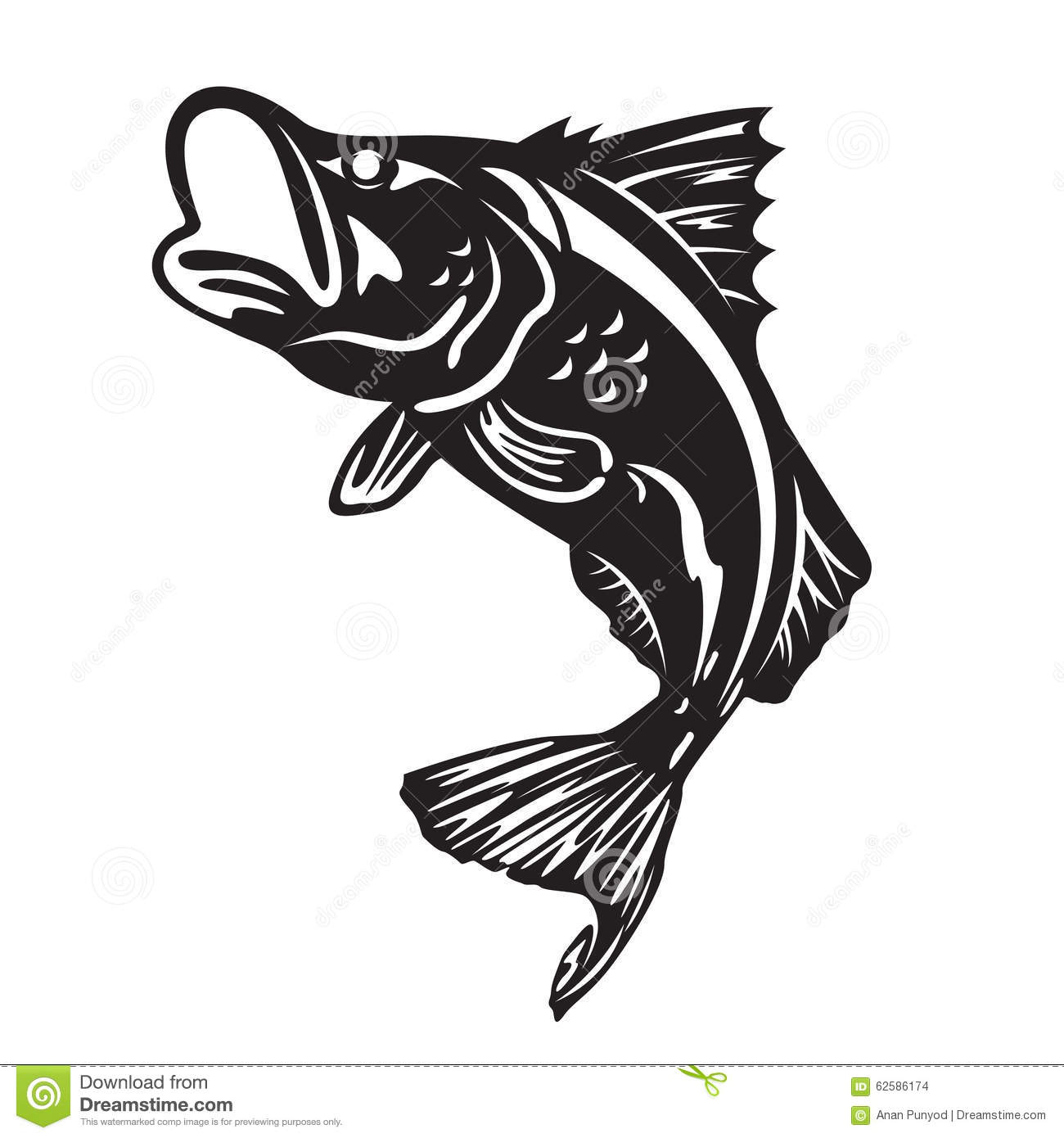 The Barramundi Fish Jump Vector Art Design Stock Vector.