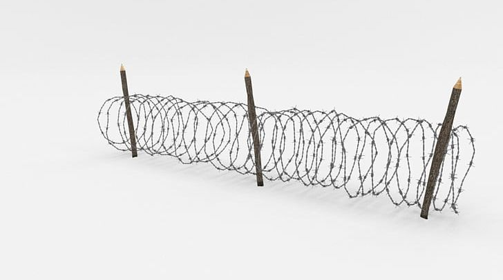Barbed Wire Fence Wire Obstacle 3D Computer Graphics PNG.