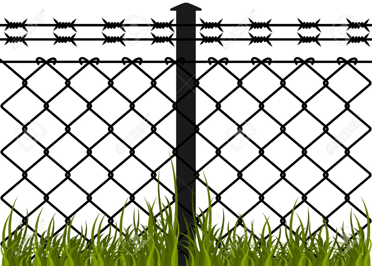 Wire fence with barbed wires Vector illustration.