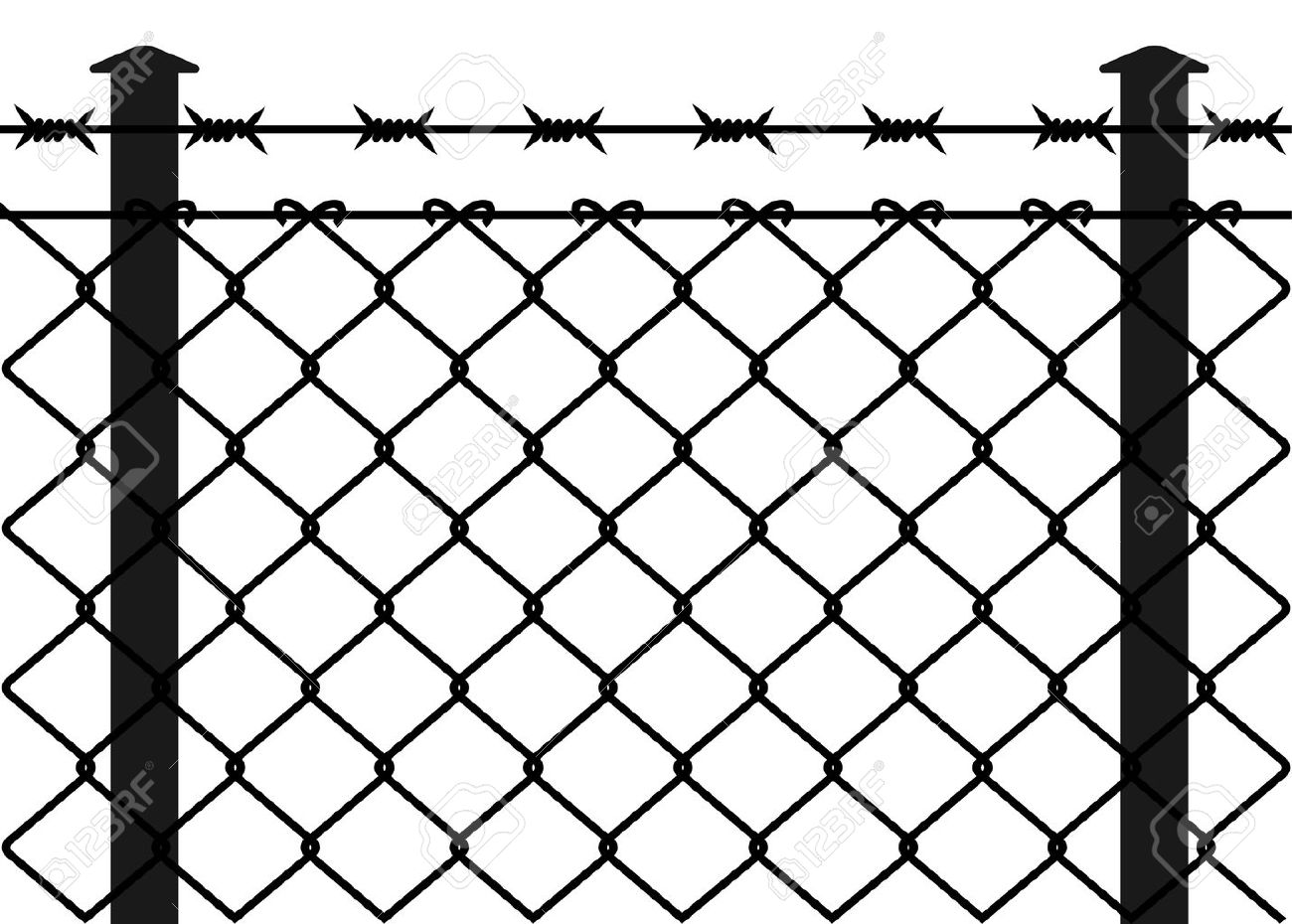 Wire fence with barbed wires. Vector illustration.