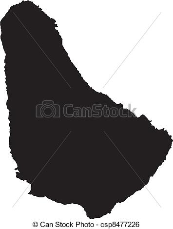 Clip Art Vector of Vector illustration of maps of Barbados.