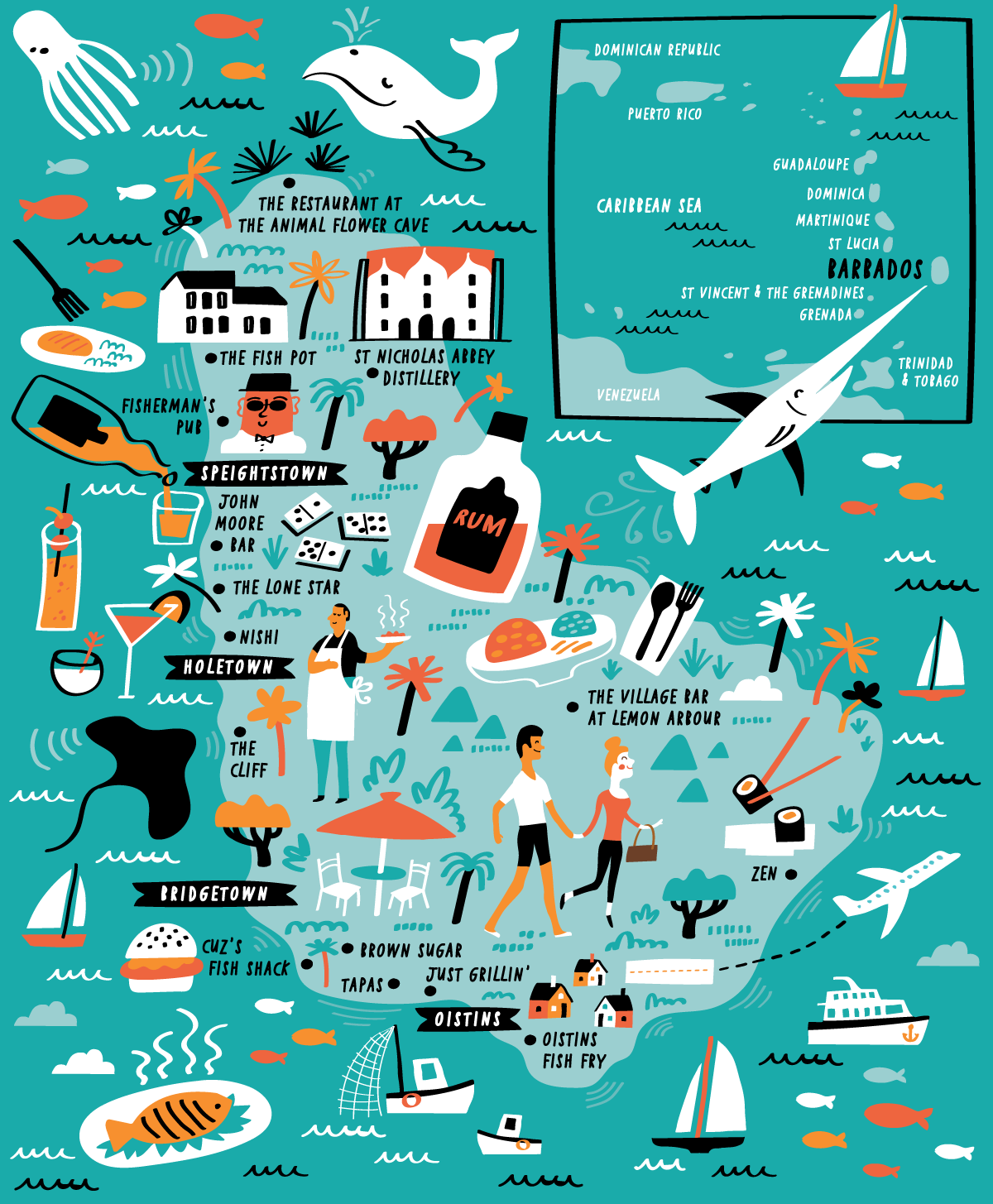 Illustrated Map of Barbados by Nate Padavick in 2019.