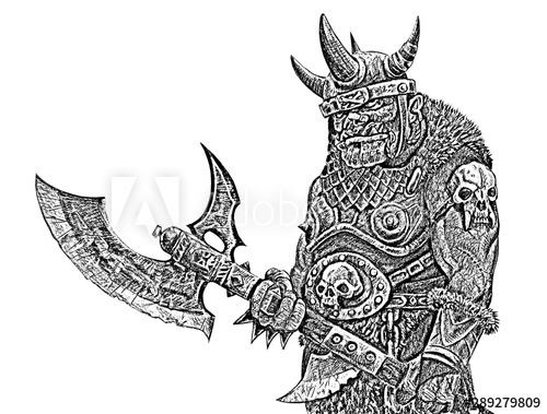 Orc with ax. Fantasy black white drawing. Barbarian creature.