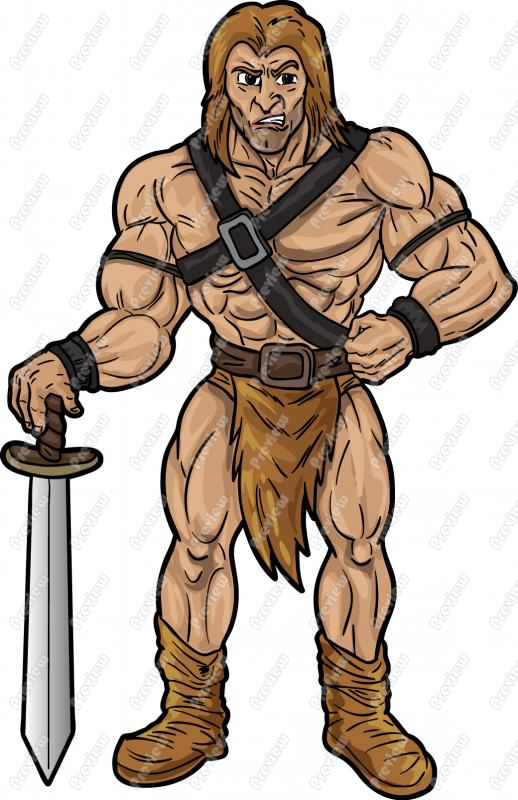 Barbarian Cartoon Mascot.