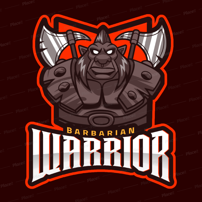 DOTA 2 Inspired Logo Template Featuring a Barbarian Warrior 2499ee.