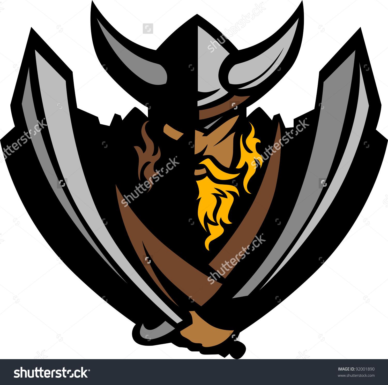 Cartoon Nordic Viking Barbarian Vector Mascot Stock Vector.