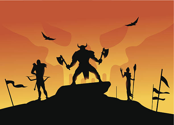 Silhouette Of A Barbarians Clip Art, Vector Images & Illustrations.