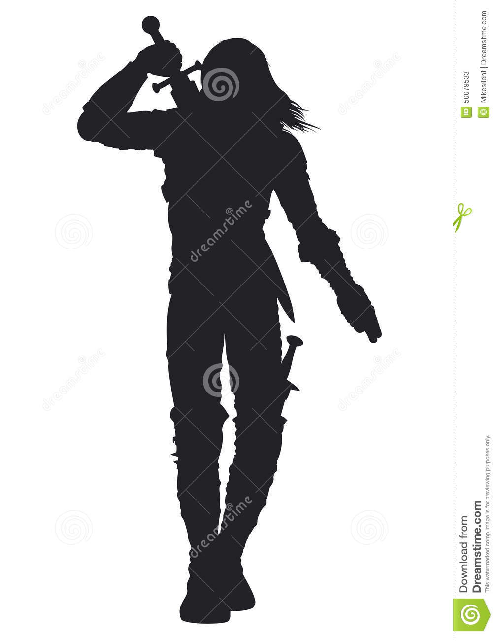 Warrior Man Silhouette Stock Vector.
