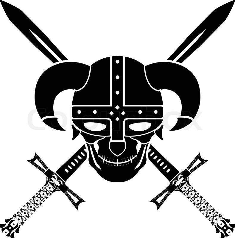 Helmet and swords of fantasy warrior. second variant.