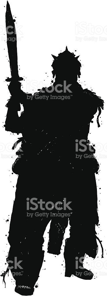 Fantasy Warrior Silhouette stock vector art 165964973.