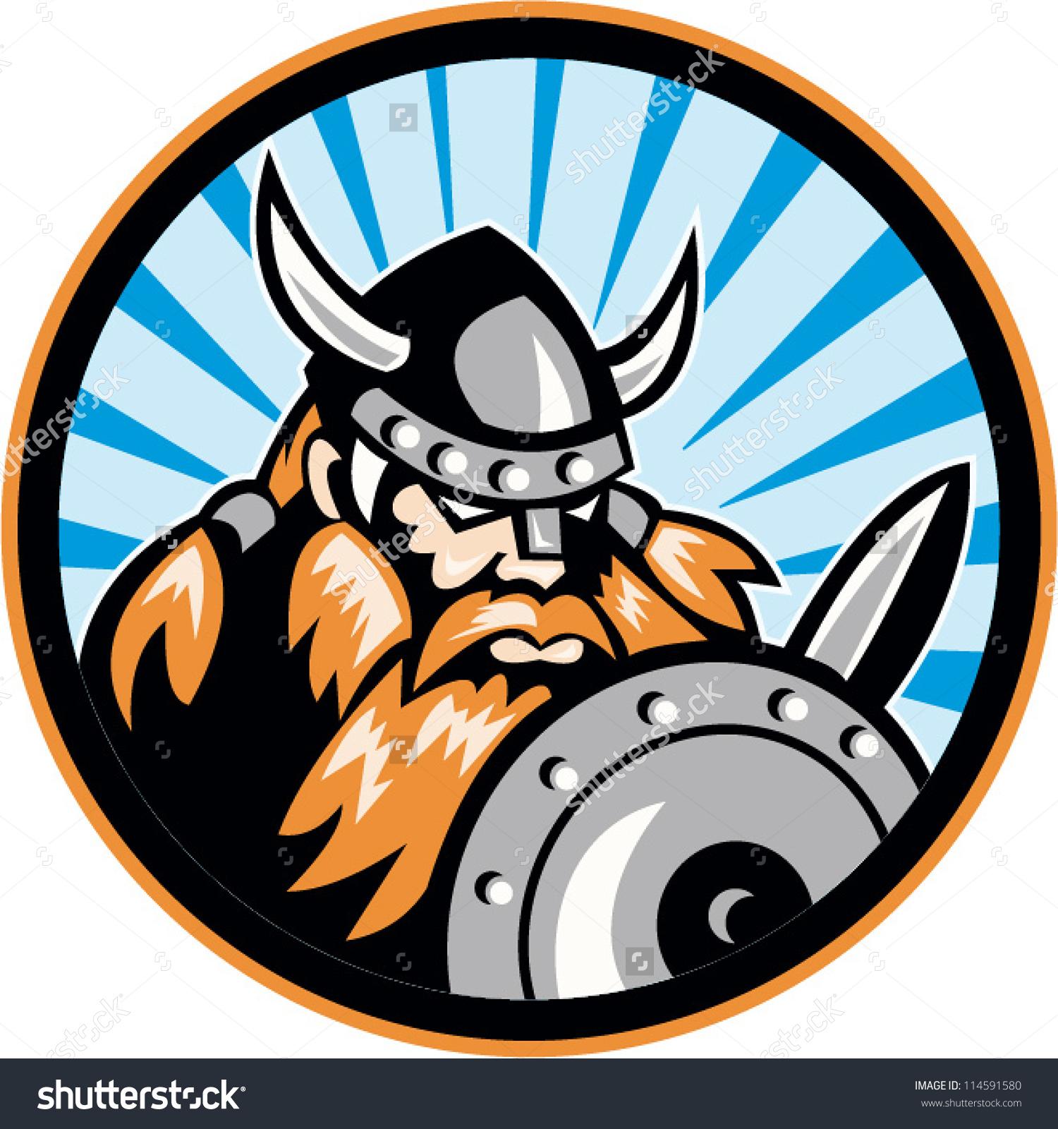 Illustration Viking Warrior Raider Barbarian Sword Stock Vector.