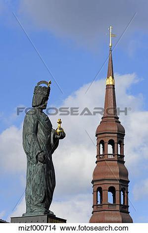Stock Photo of Germany, Hamburg, Barbarossa statue and St.