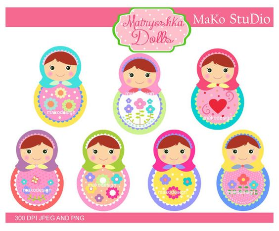 Matryoshka clip art ,Matryoshka dolls Digital clip art, Russian.