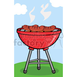 Clipart Grilled Sausages On Barbecue clipart. Royalty.
