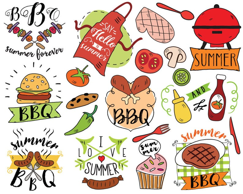 Summer BBQ Clipart, vector, barbecue clipart, summer doodle, picnic  clipart, summer clipart, bullet journal stickers, planner stickers.