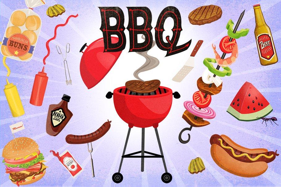 BBQ Cookout Clip Art Graphics ~ Illustrations ~ Creative Market.