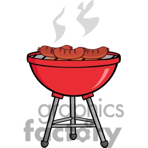 Bbq Grill With Fire Clipart.