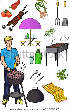 A Set Of Isolated Objects For Outdoor Recreation, Grill And.