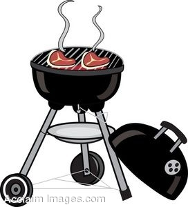 Clip Art of a Charcoal Grill With Cooking Steaks.