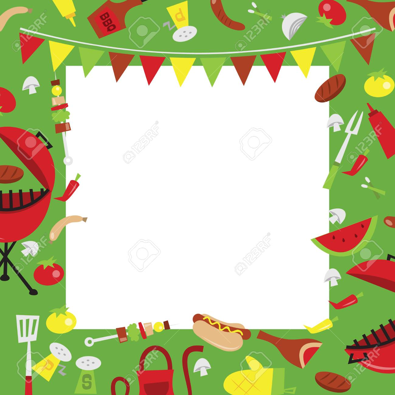 A vector illustration of retro summer barbecue party background.