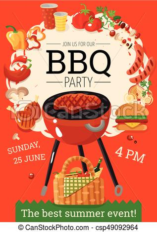 BBQ Barbecue Party Announcement Poster.