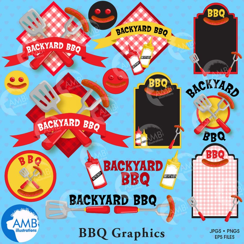 BBQ clipart, Barbeque clip art, Barbecue party clipart, Barbecue words,  Barbeque clipart elements, commercial use, AMB.