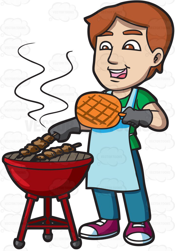 A man cooking barbecue on the grill cartoon clipart.