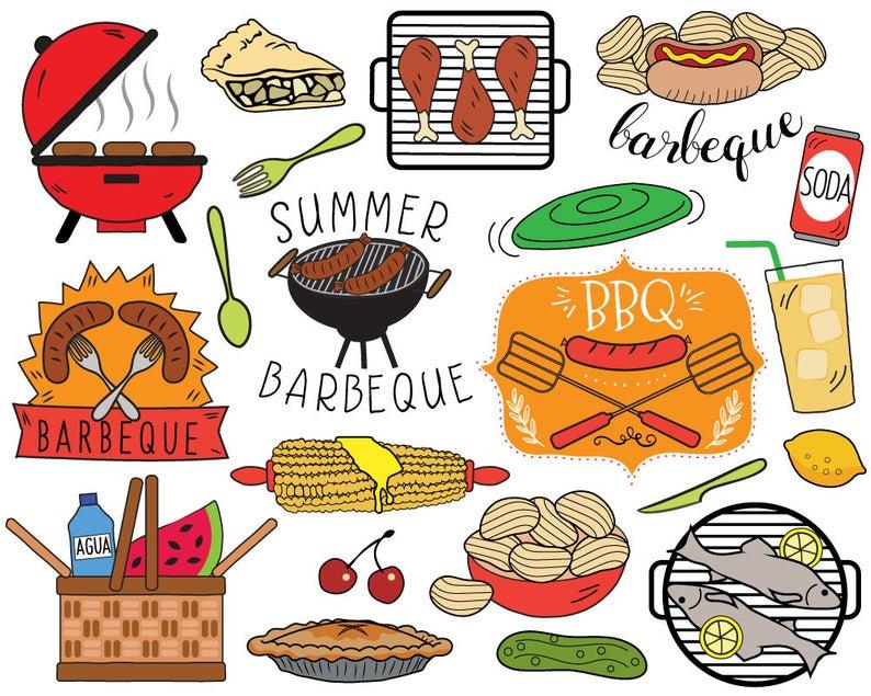 BBQ Clipart, summer barbecue clipart, picnic clip art, bbq invitation,  cooking clipart, grilling clipart, hot dog, corn on cob.