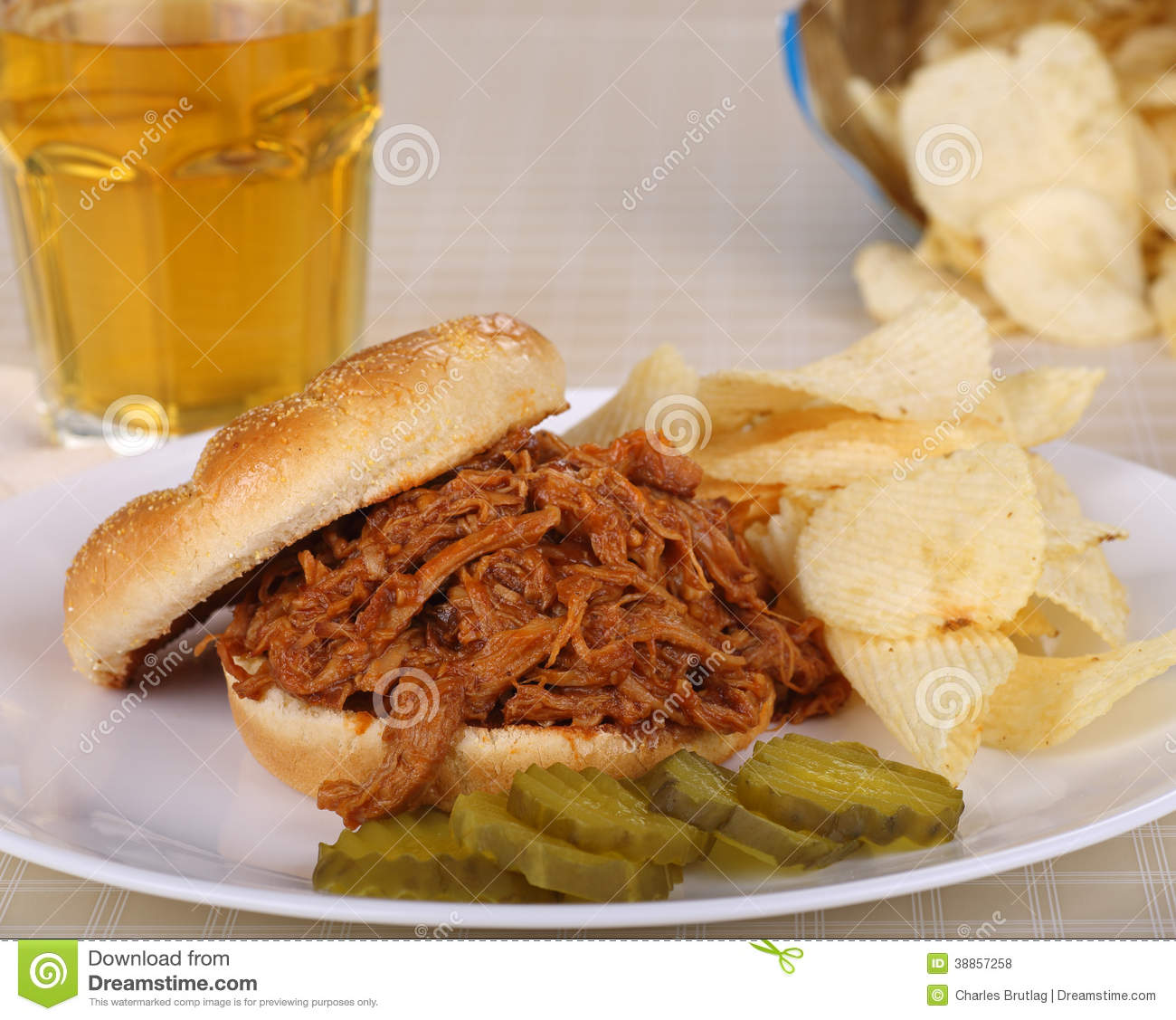 Pulled Pork Sandwich stock photo. Image of dinner, food.