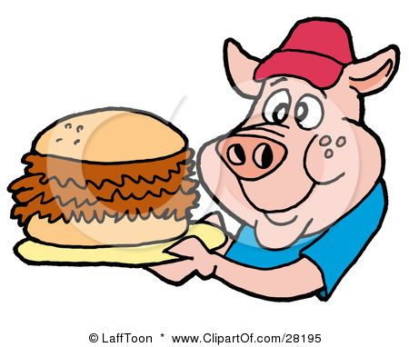 Happy cartoon pig with bbq pork sandwich on a plate..