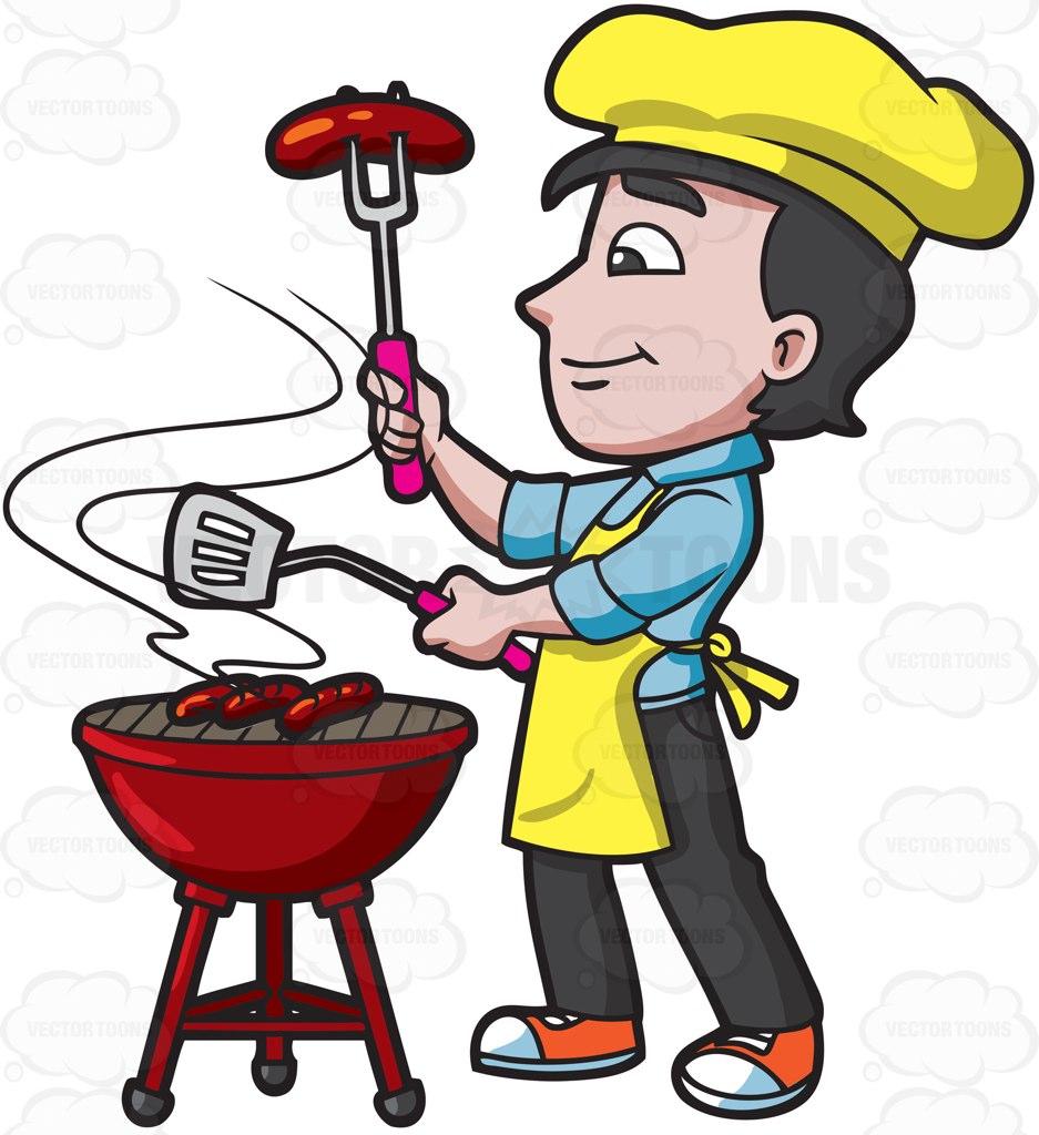A Man Grilling Sausages.