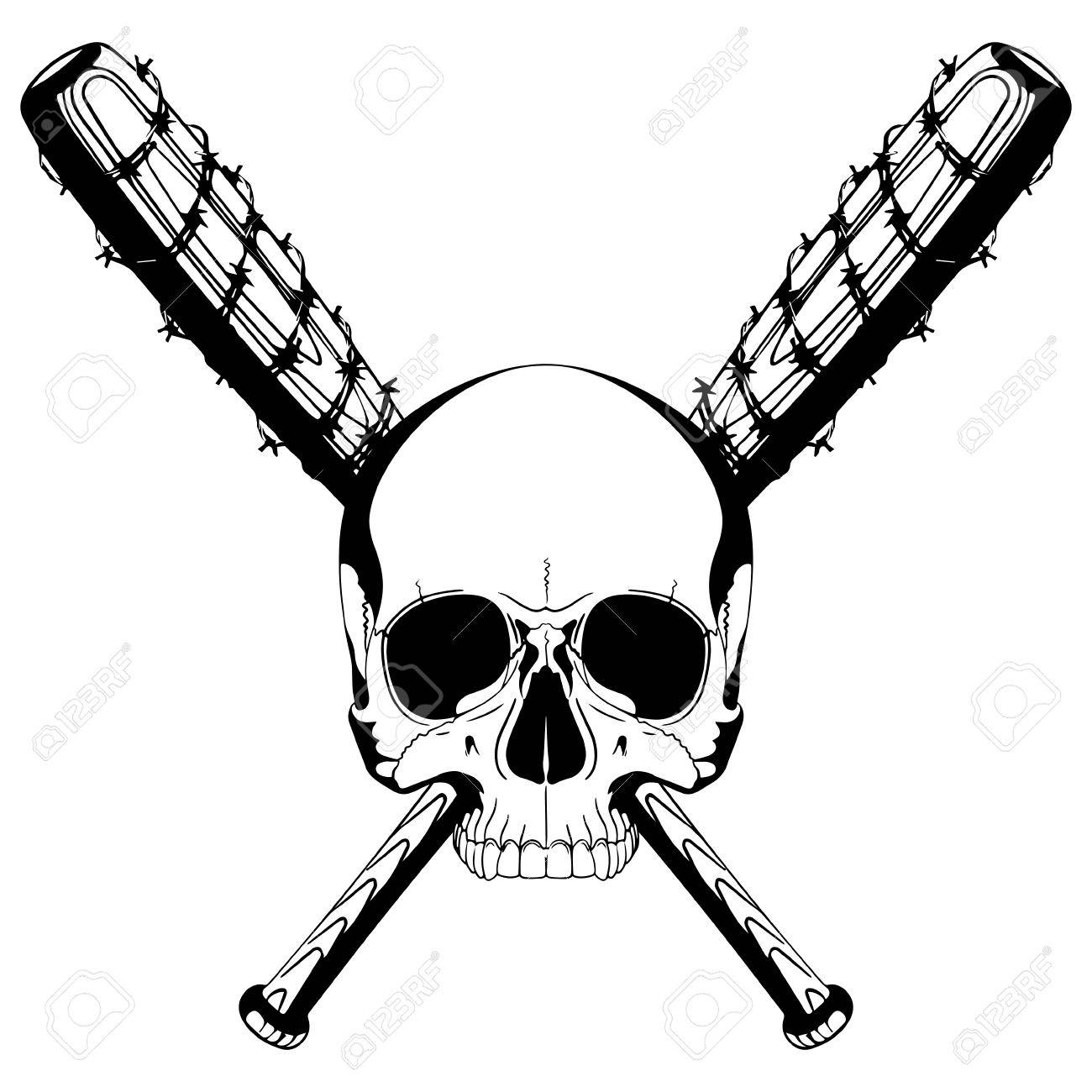 Bat With Barbed Wire Clipart.