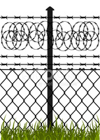 Wire Fence With Barbed Wires stock vectors.