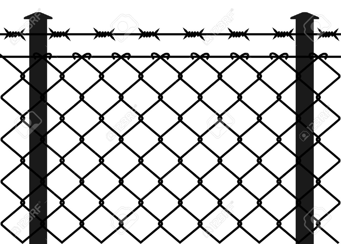 Mesh wire fence clipart #3