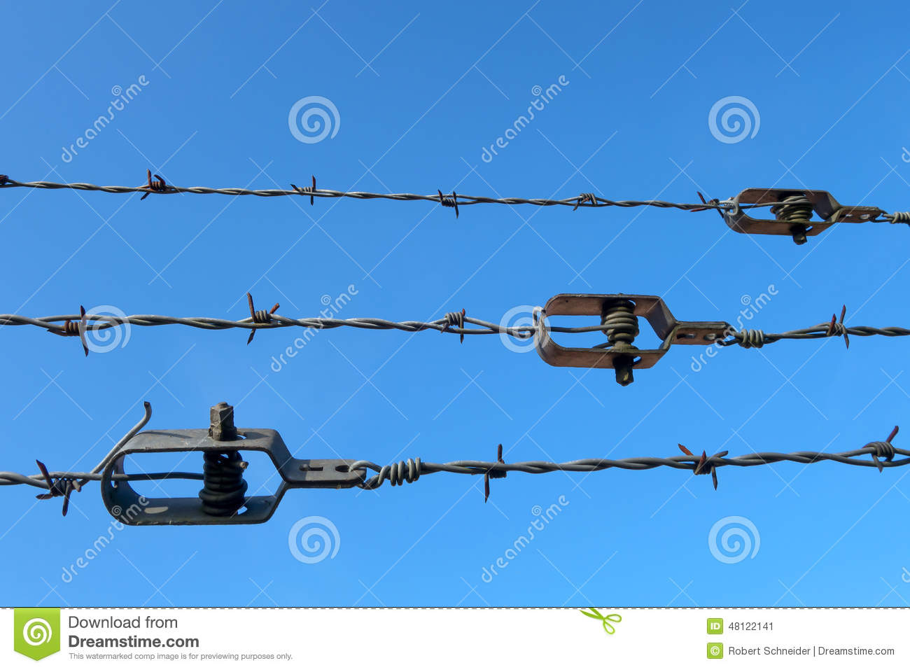 Barb Wire With Wire Tightener Stock Photo.